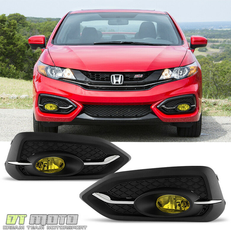 for 2014 2015 honda civic 2dr coupe yellow fog lights bumper lamps w switch bulb ebay. Black Bedroom Furniture Sets. Home Design Ideas