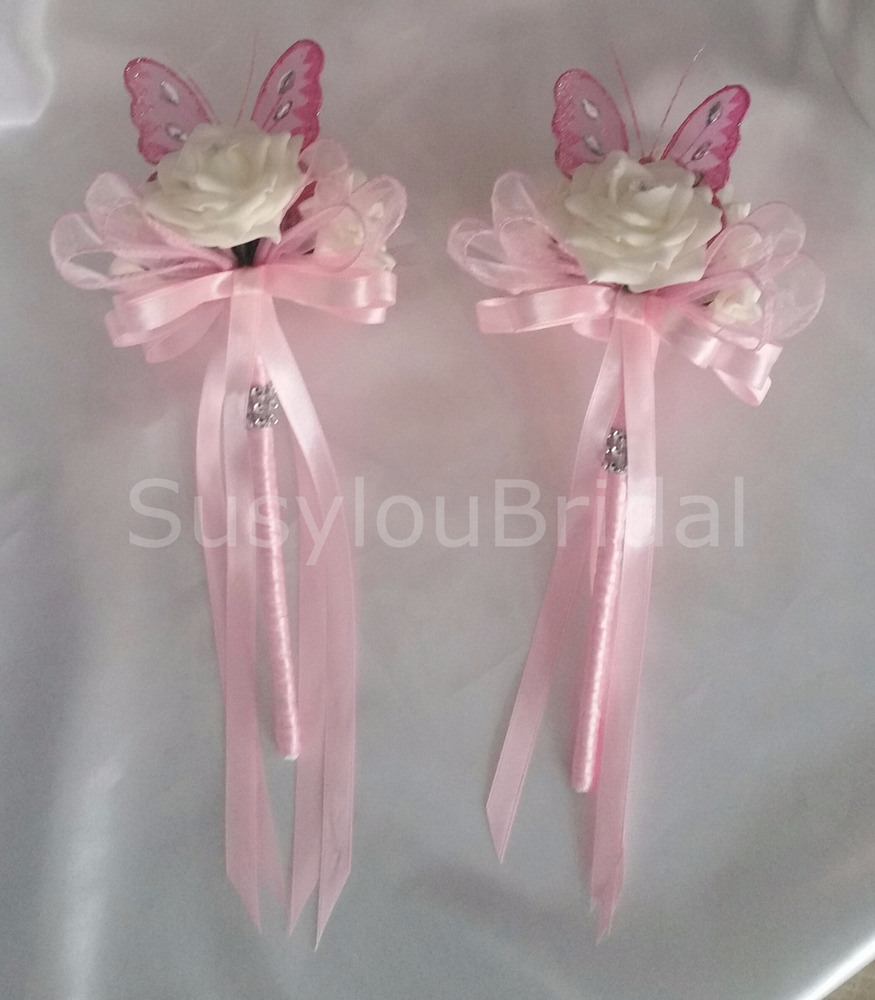 Wedding Flowers Bridesmaids Flower Girl Butterfly Wands