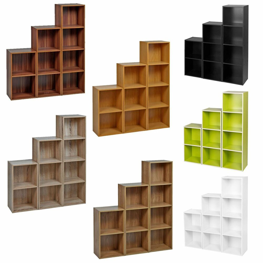 2 3 4 Tier Wooden Bookcase Shelving Display Shelves
