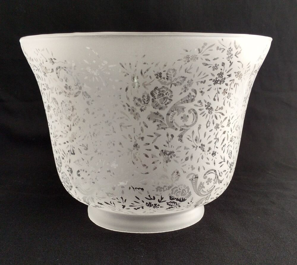 Etched Metal Lamp Shade: GAS LIGHT LAMP SHADE VICTORIAN LACE FILIGREE ETCHED GLASS