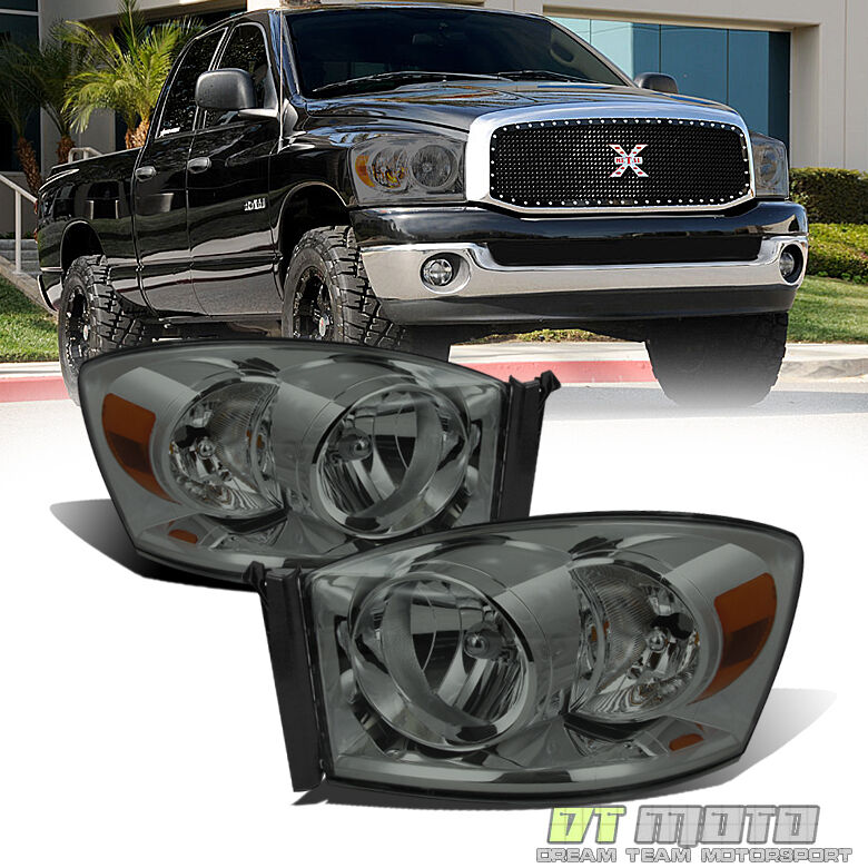smoked 2007 2009 dodge ram 1500 2500 headlights headlamps. Black Bedroom Furniture Sets. Home Design Ideas