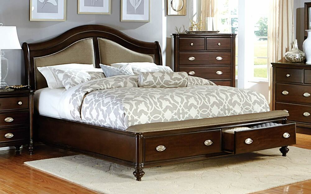 Contemporary dark cherry finish king bed with drawer storage bedroom