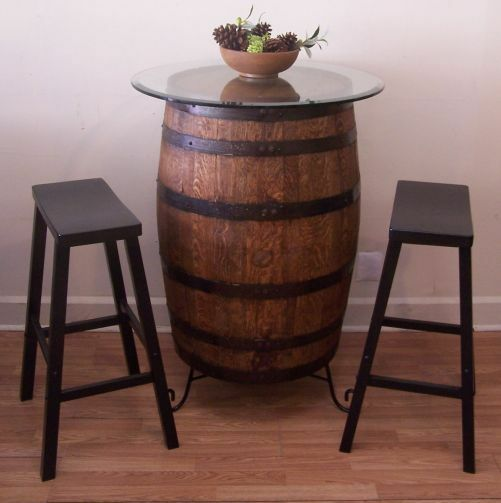 Whiskey Barrel Table C 30 Quot Glass Top Wrought Iron Stand 2