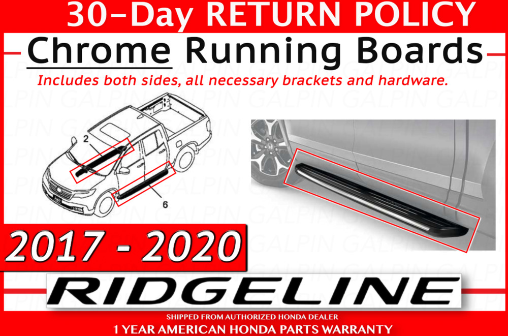 Genuine OEM Honda Ridgeline Chrome Running Board Set 2017 Pair Boards | eBay