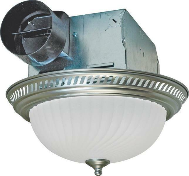 New air king drlc702 decorative nickel 2 bulb exhaust fan - Round bathroom exhaust fan with light ...