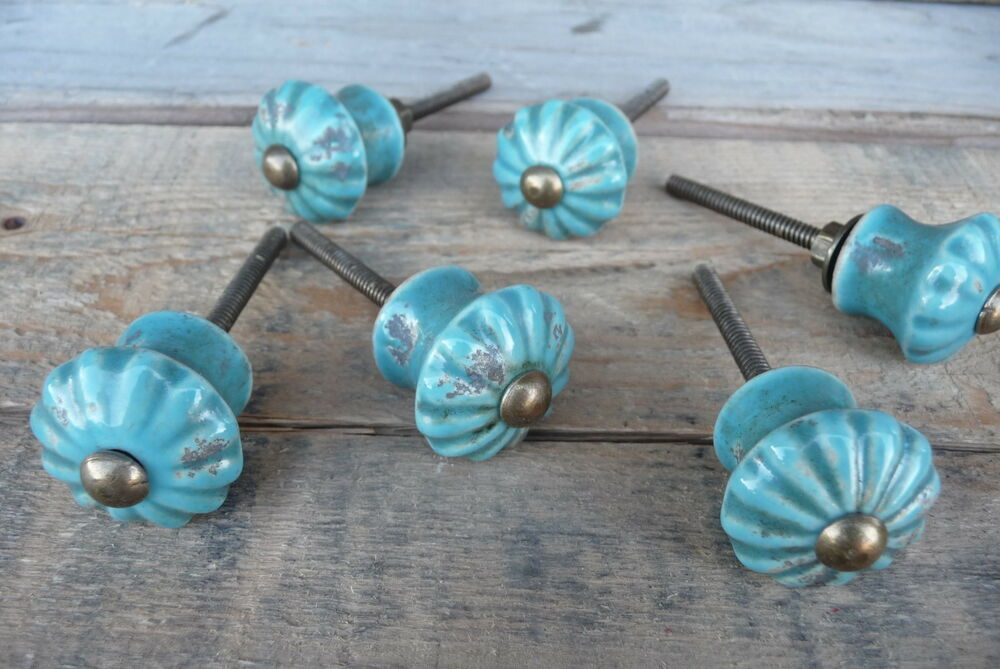 Distressed aqua blue flower ceramic knob drawer pull for Turquoise cabinet pulls