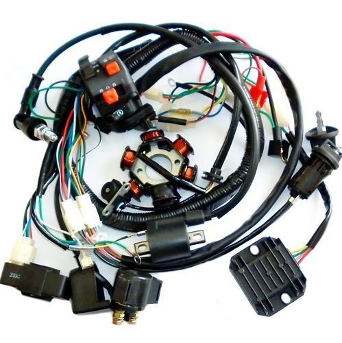full electrics wiring harness cdi coil solenoid gy6 150cc. Black Bedroom Furniture Sets. Home Design Ideas