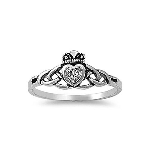 925 sterling silver celtic crown claddagh cz