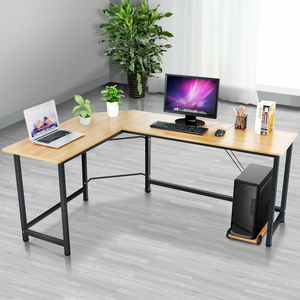 New l shaped home office desk corner computer pc laptop study table wood metal ebay - Metal office desk ...