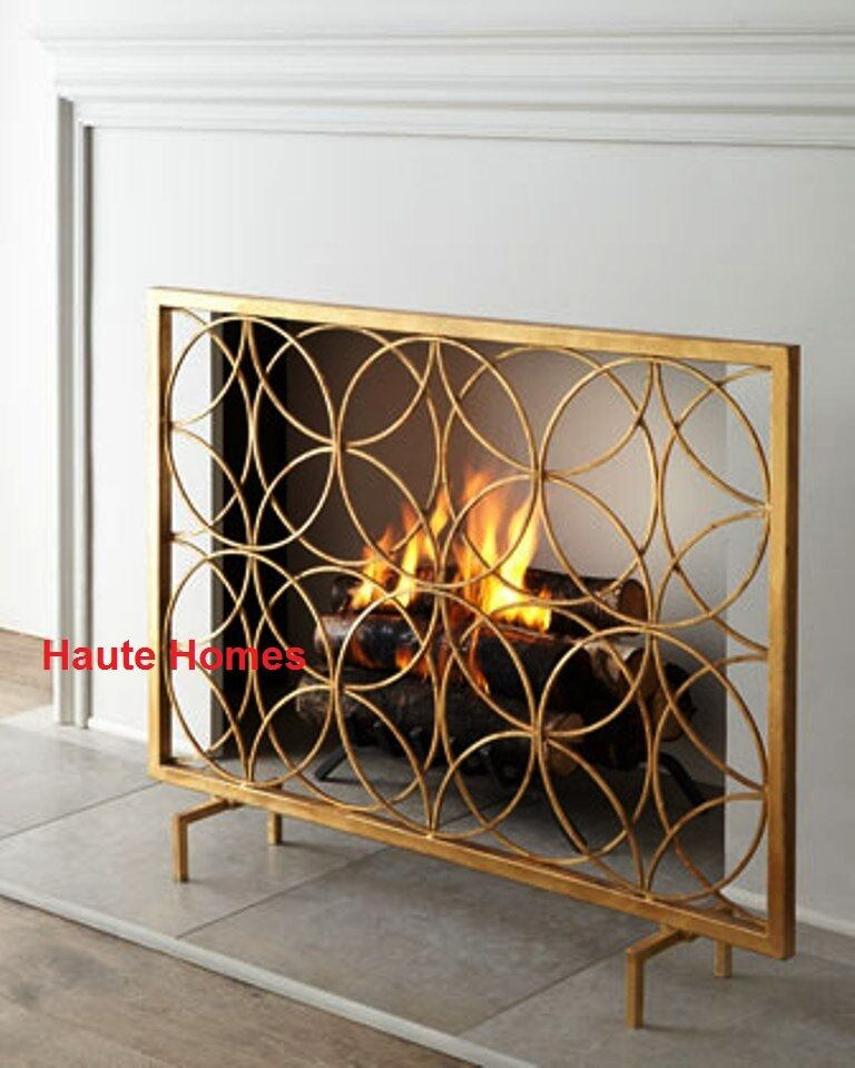 New Designer Horchow Single Panel Modern Gold Fireplace