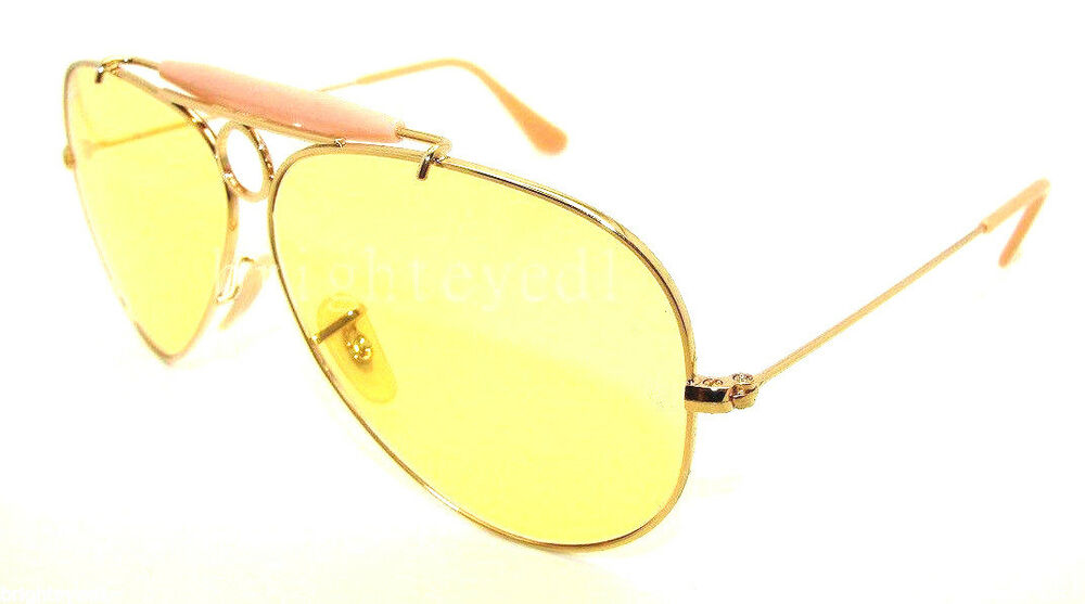 ray ban rb 3138 shooter aviator sunglasses yellow  authentic ray ban shooter ambermatic aviator sunglass rb 3138 001/4a new 58mm