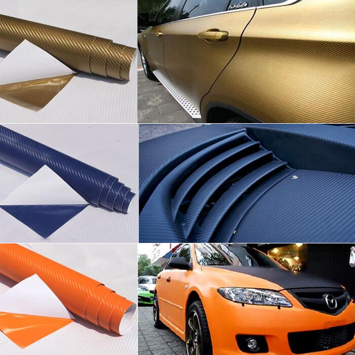 3d carbon fiber matte color car vinyl wrap sticker decal film sheet texture diy ebay. Black Bedroom Furniture Sets. Home Design Ideas