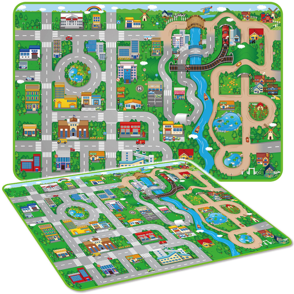 Giant Kids City Playmat Fun Town Cars Play Road Carpet Rug