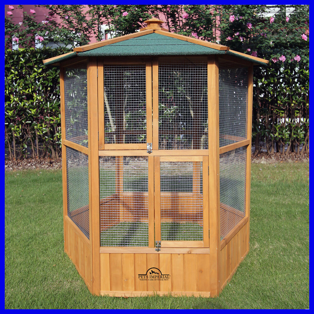 Pets Imperial 174 Large Wooden Hexagonal Bird Aviary Cage