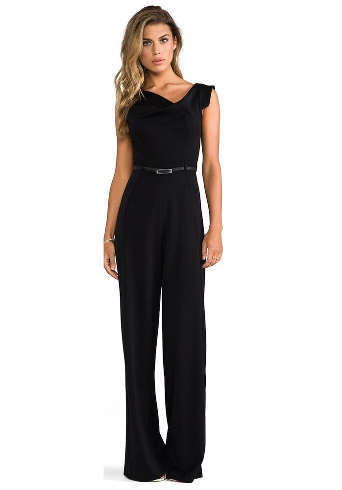 Black Halo Classic Jackie Belted Sexy Women Cocktail Party Jumpsuit Long Rompers Ebay