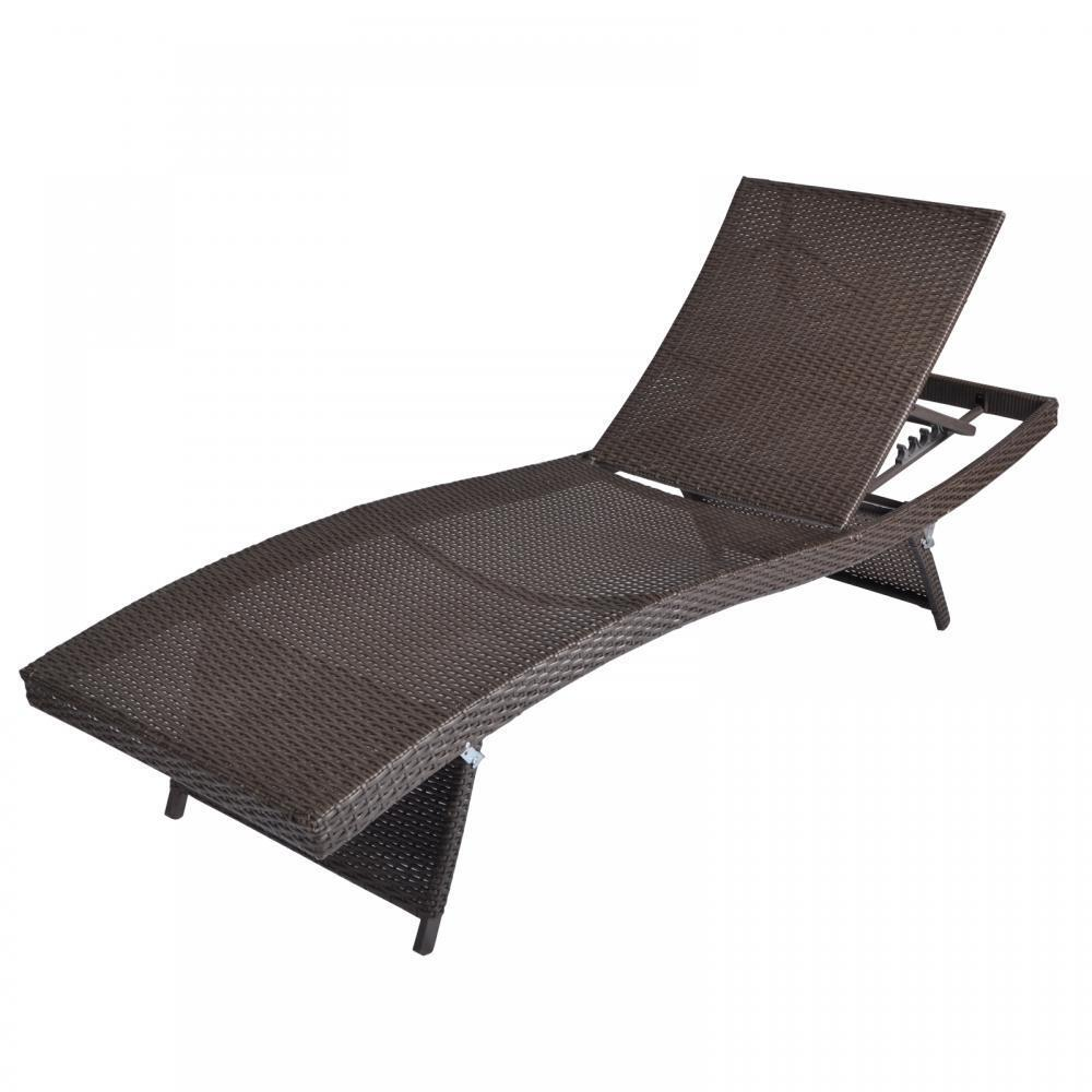 New outdoor patio furniture pe wicker adjustable pool for Patio furniture chaise lounge