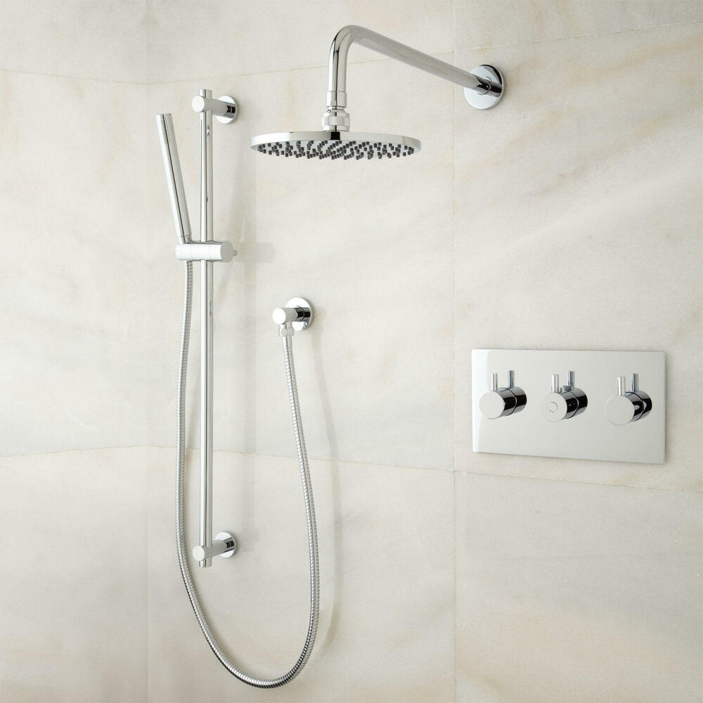 Tosca thermostatic shower system with rainfall shower and hand shower ebay for Delta bathroom shower systems