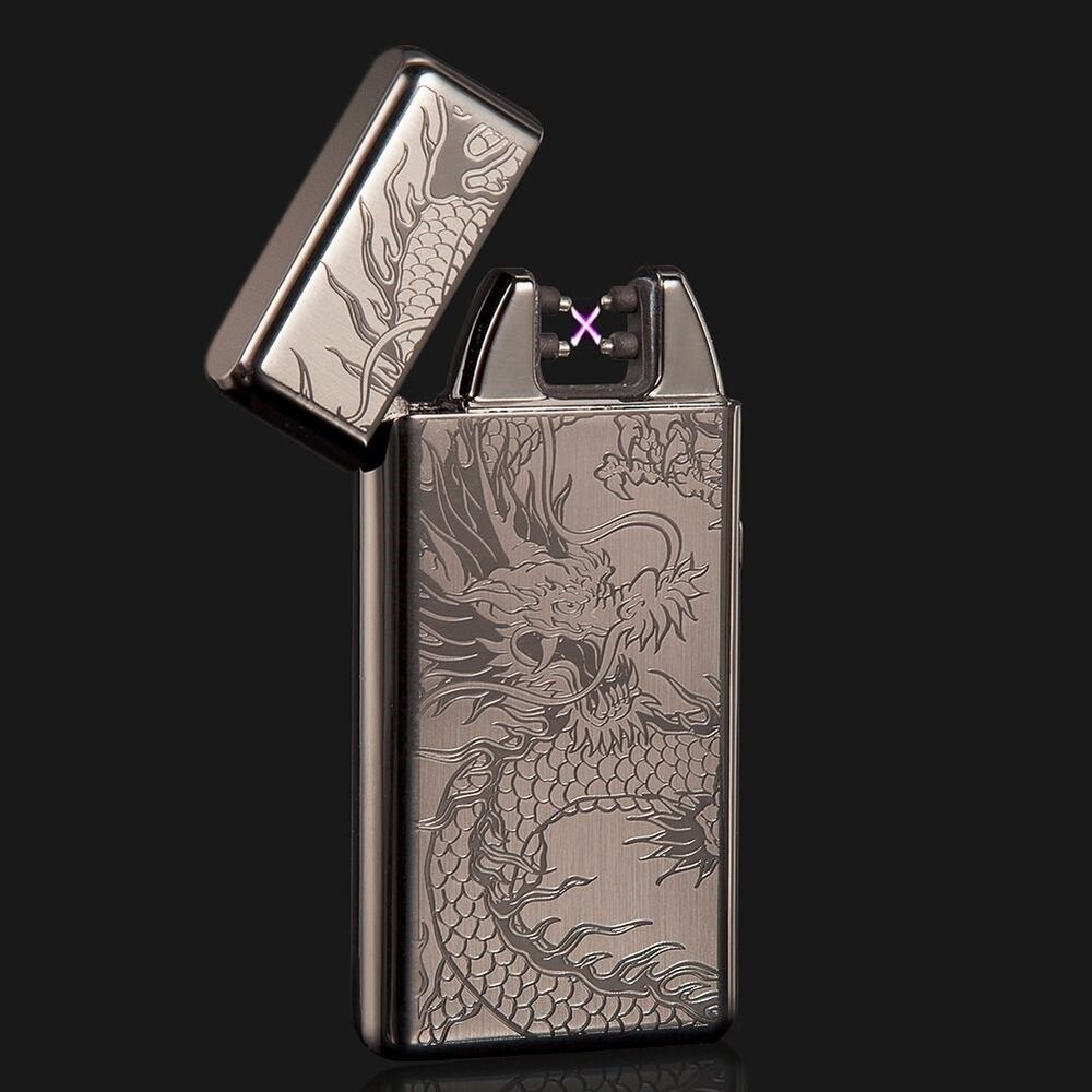 Black Dragon Electric Dual Arc Flameless USB Rechargeable Windproof Lighter | eBay