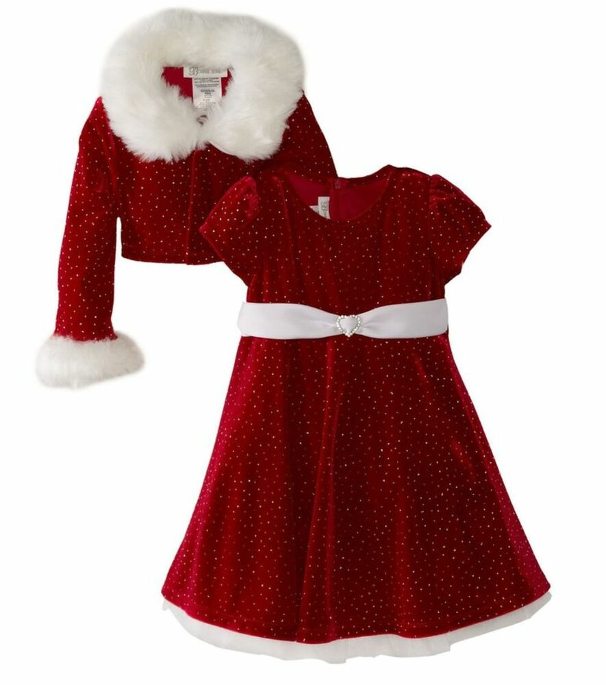 Bonnie Jean Sparkling Santa Red Christmas Velvet Dress