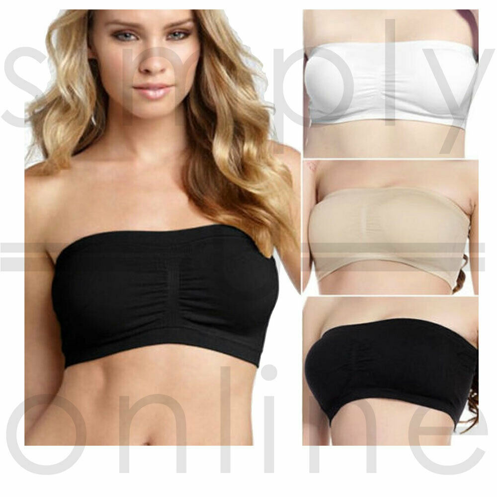 aad7e153f7fd8 Details about 3 Pack Women Ladies Strapless Seamless Bandeau Bra Boob Tube  Comfort Tops