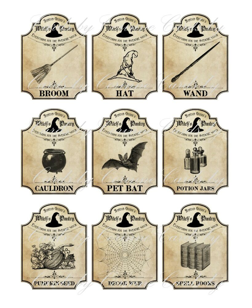 Halloween Apothecary Jars Free Printable Labels