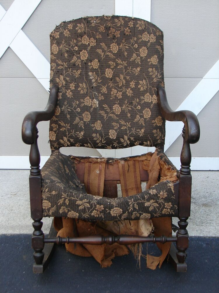 Vintage Antique Solid Wood Rocking Chair Wooden Rocker