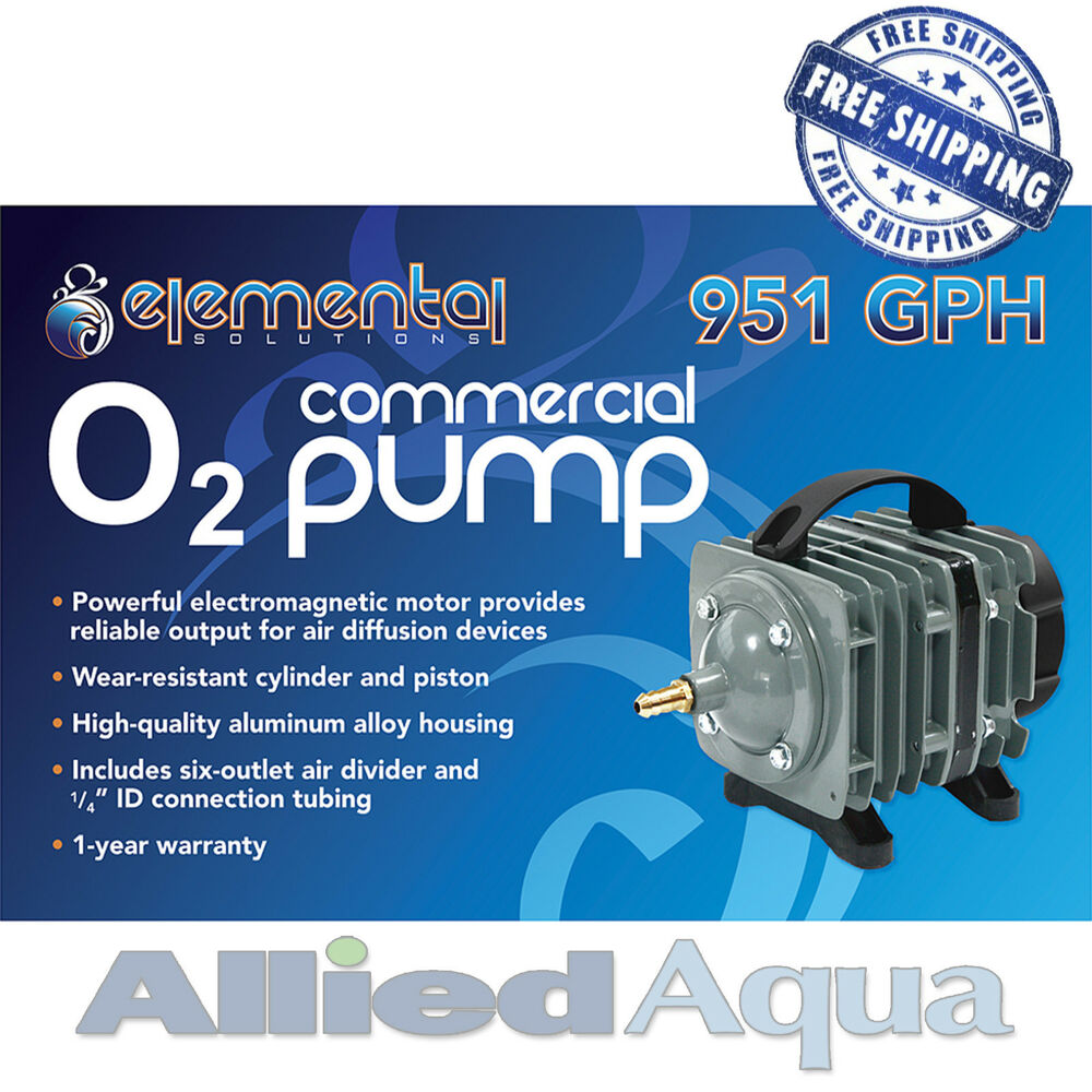 Elemental o2 commercial air pump 951 gph aquaponics for Hydroponic air pump