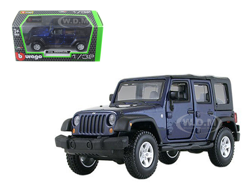 JEEP WRANGLER UNLIMITED RUBICON 4 DOORS BLUE 1/32 DIECAST ...