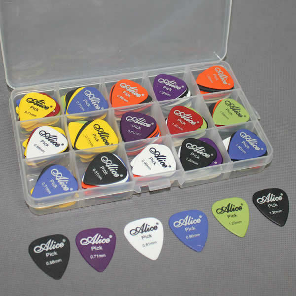 100pcs acoustic electric guitar picks plectrum various 6 thickness w pick box ebay. Black Bedroom Furniture Sets. Home Design Ideas