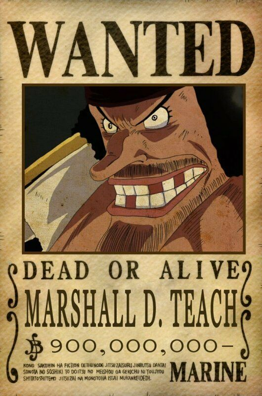 Poster one piece marshall d teach rufy wanted taglia - One piece wanted poster ...