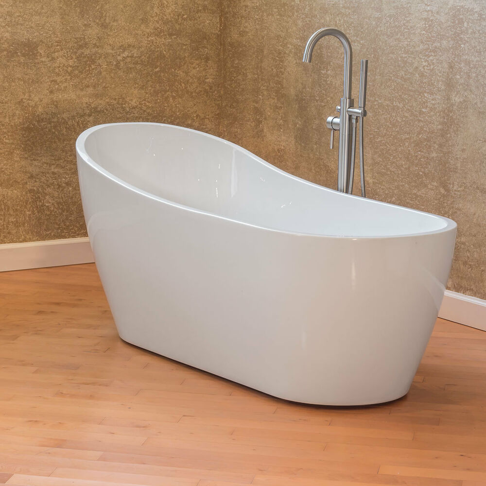 Lesscare ltf3 67 glossy white acrylic freestanding luxury for Best acrylic bathtub to buy