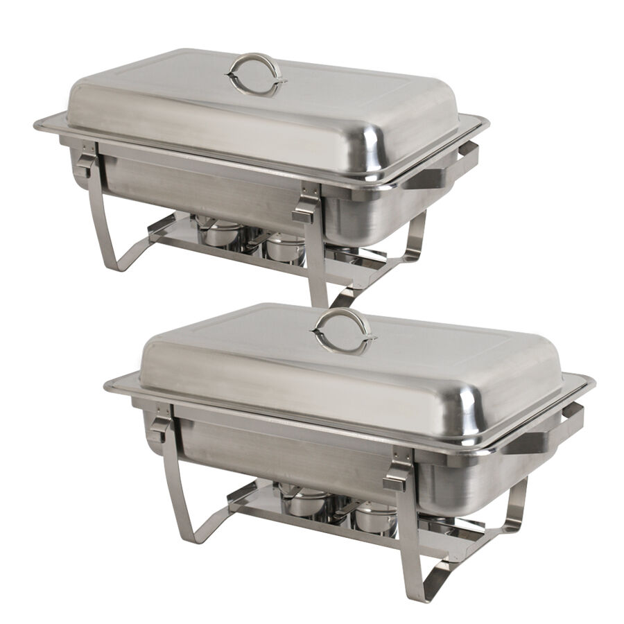 lot 2 8 quart stainless steel rectangular chafing dish full size buffet catering ebay. Black Bedroom Furniture Sets. Home Design Ideas