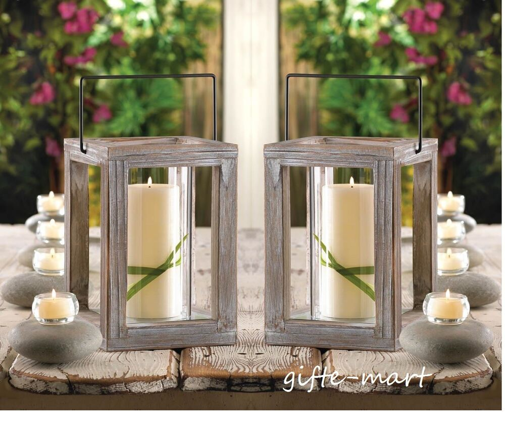 Rustic Wooden Tea Light Holder Free Shipping: 2 Rustic Gray Weathered Driftwood Wood Frame Candle Holder