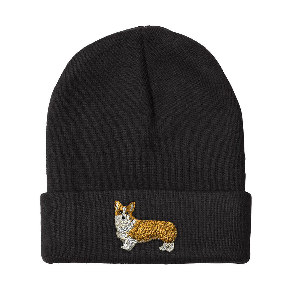 Pembroke Welsh Corgi Embroidery Embroidered Beanie Skully Hat Cap  90d16cb5c397
