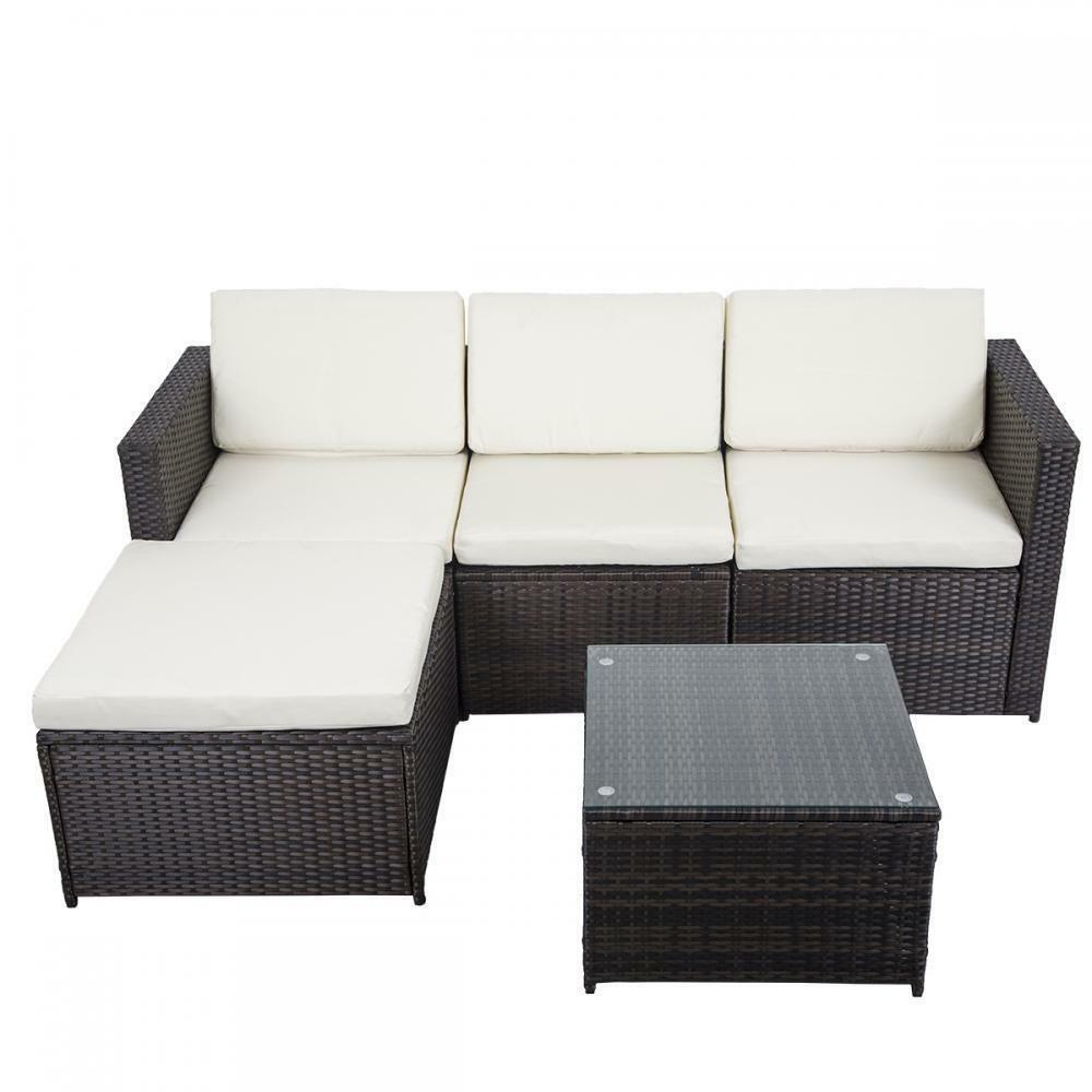 5 pcs outdoor patio sofa set sectional furniture pe wicker for Outdoor patio couch set