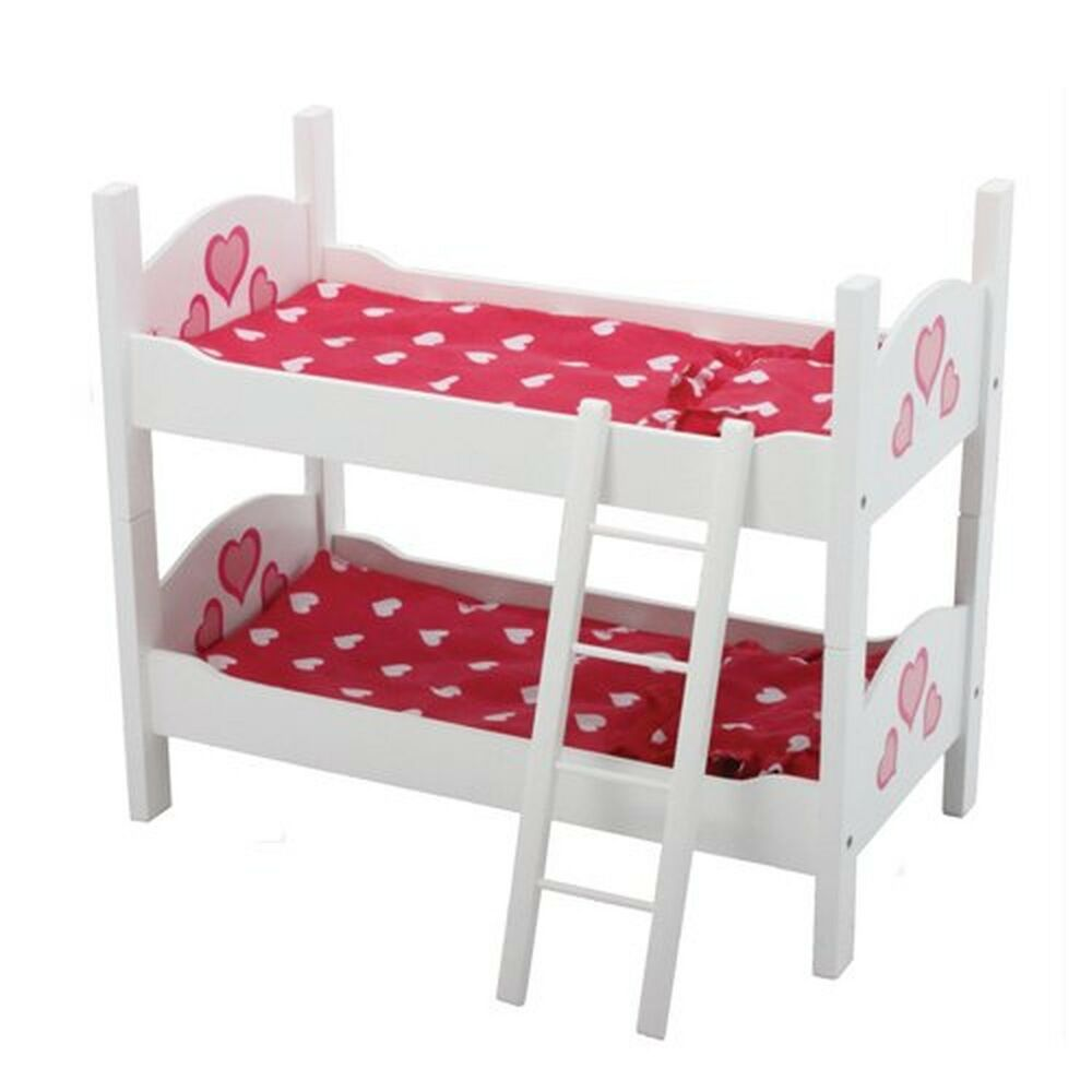 Doll bunk bed 18 american girl dolls furniture wooden ladder mattress bedding ebay Dolls wooden furniture