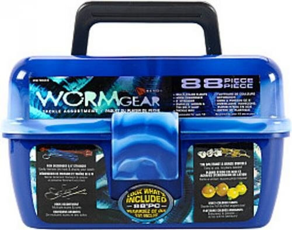Beginner tackle box complete 88 pc starter fish kit set for Fishing tackle kits
