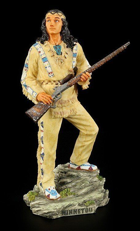 winnetou figur stehend karl may deko indianer western statue veronese ebay. Black Bedroom Furniture Sets. Home Design Ideas