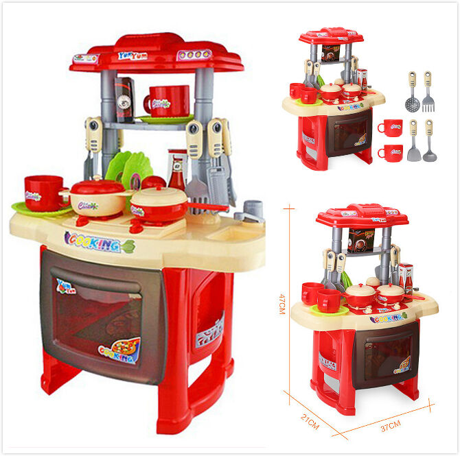 37x21x40cm children kids kitchen cooking play pretend toy set vivid sound light ebay. Black Bedroom Furniture Sets. Home Design Ideas