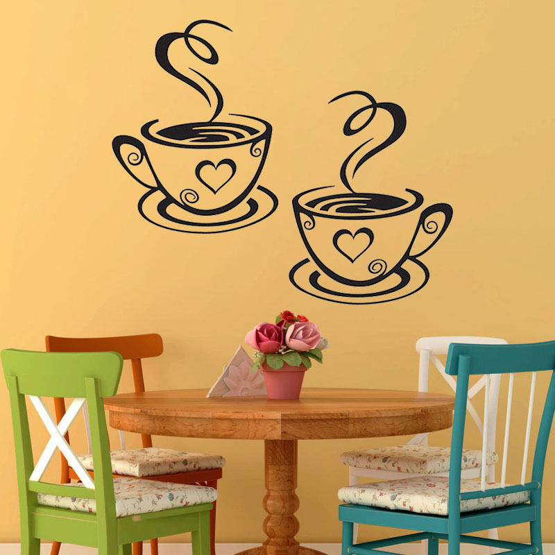 trendy kitchen accessories trendy coffee cups cafe tea wall stickers vinyl decal 2933
