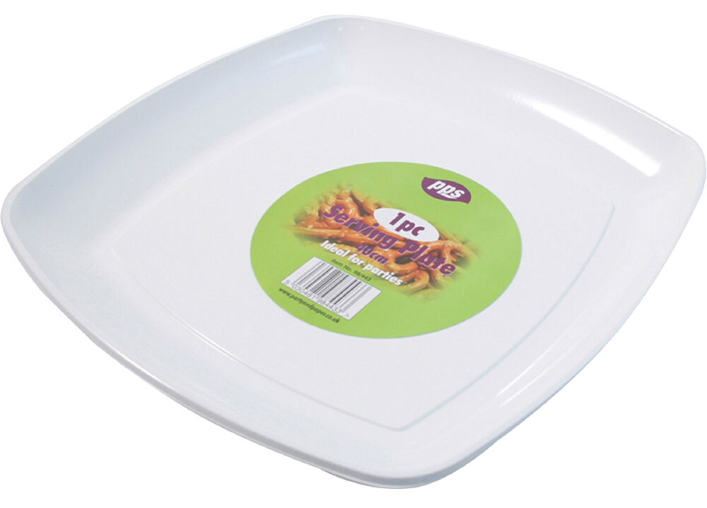 8 x white plastic serving platters disposable trays party platter 40cm square ebay. Black Bedroom Furniture Sets. Home Design Ideas