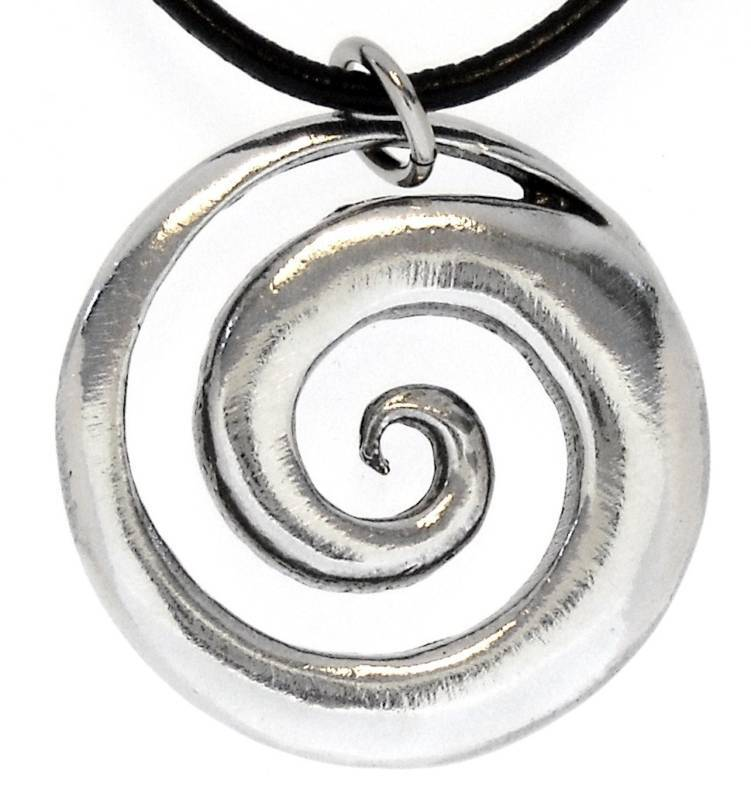 Spiral Swirl Silver Pewter Pendant Leather Cord Surfer Ebay