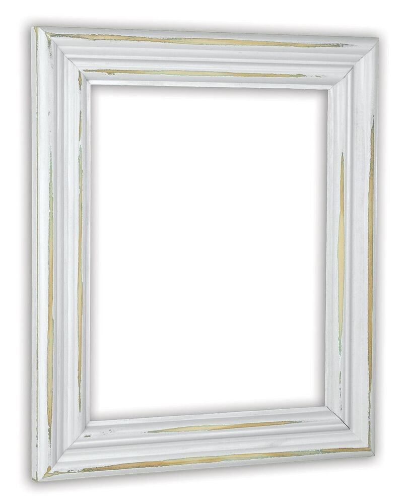 Distressed White Picture Frame Solid Wood Ebay