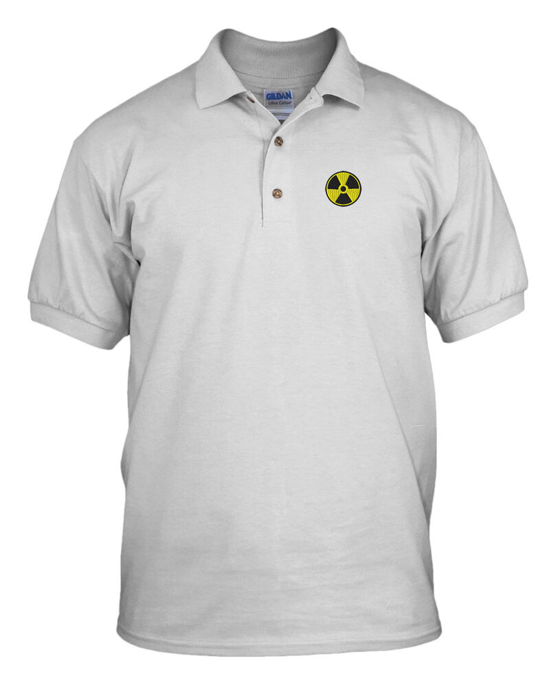 Radiation hazard yellow logo embroidery embroidered golf for Yellow golf polo shirts