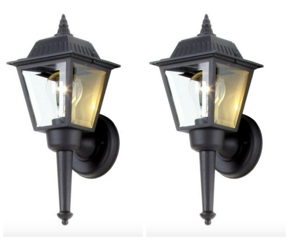 Wall Lantern Replacement Glass : Outdoor Exterior Porch Wall Light Lantern Sconce Fixture Black Glass Shade Set eBay