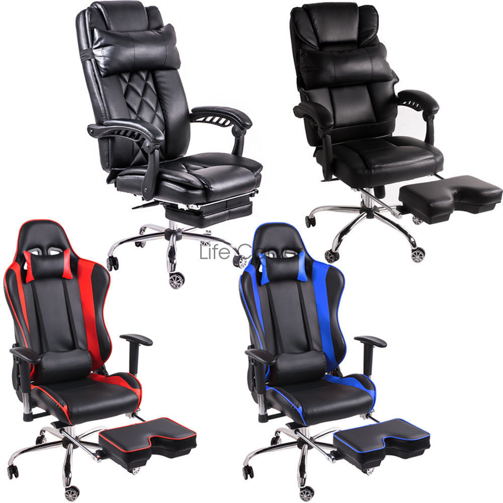 btm 2017 new gaming racer sports chair office chair with footstools