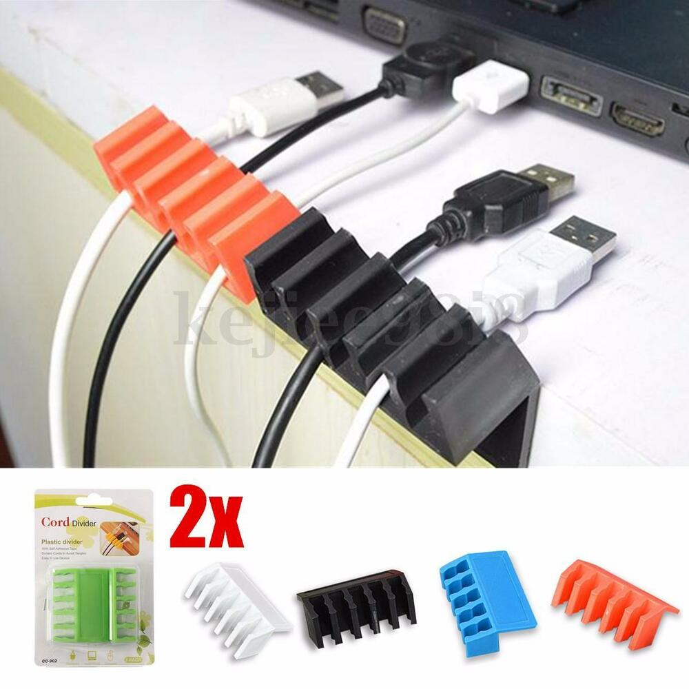 Cord Holder Wall: 2x Wire Cord Cable Clips Organizer Plug Holder Sticky Hook