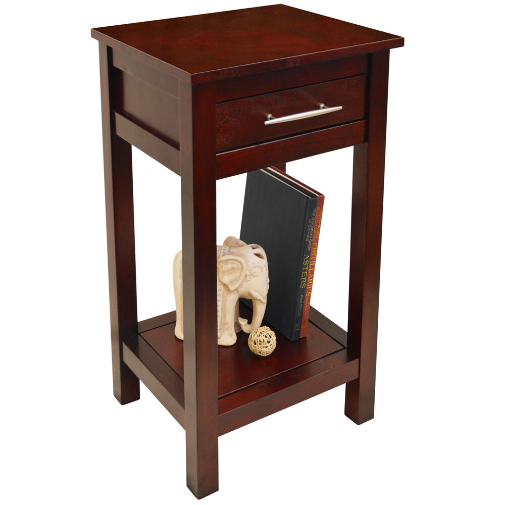 Kyoto Solid Wood Telephone End Table Wenge Oc2270a