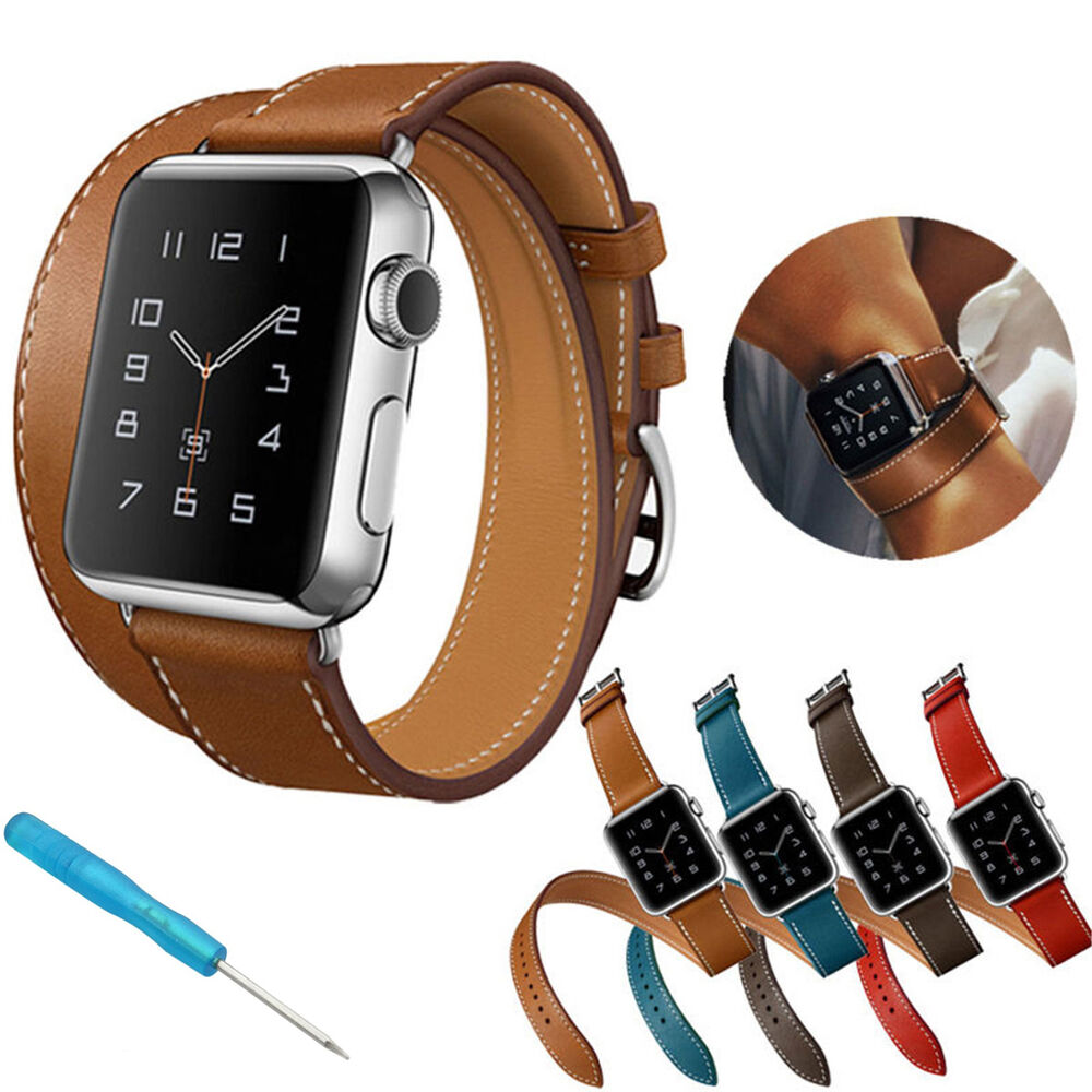 Leather Double Tour Watch Band Bracelet for Apple Watch ...