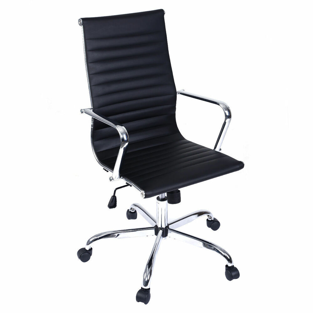 Black Swivel Executive Office Chair Luxury PU Leather High Back Computer Chai